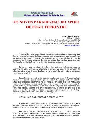 OS NOVOS PARADIGMAS DO APOIO DE FOGO TERRESTRE