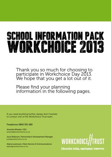 school planning pack 2013 - Workchoice Trust
