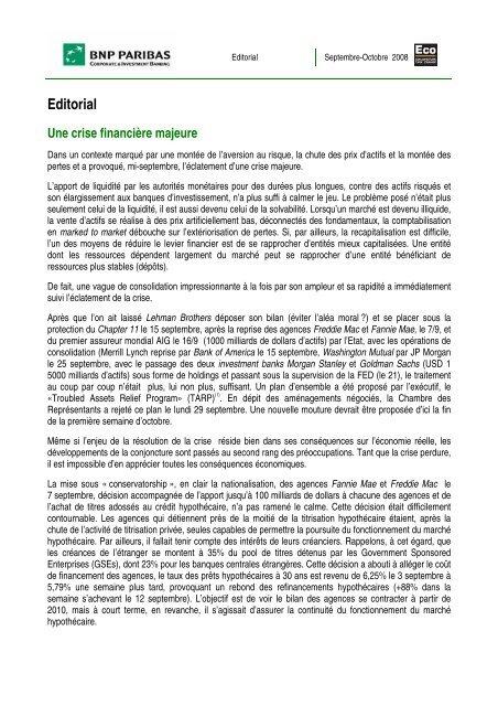 Editorial Une crise financière majeure - BNP Paribas