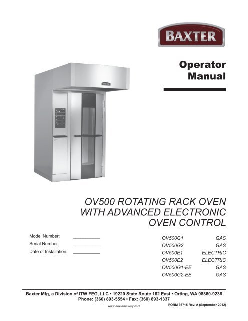Operator Manual OV500 ROtating Rack OVen With Hobart