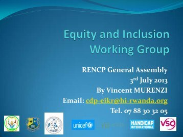 Equity and special needs working Group