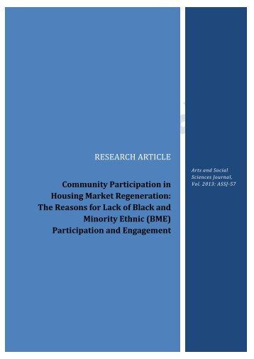 Community Participation in Housing Market ... - AstonJournals