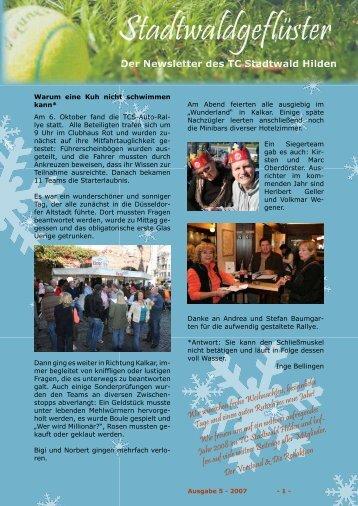 Der Newsletter des TC Stadtwald Hilldden - TC Stadtwald Hilden