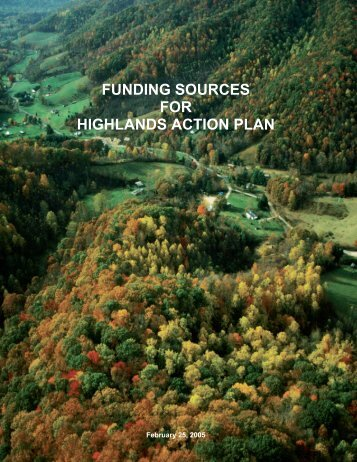 funding sources for highlands action plan - Canaan Valley Institute