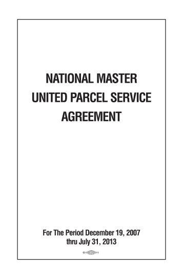 National Master United Parcel Service Agreement Teamsters Local