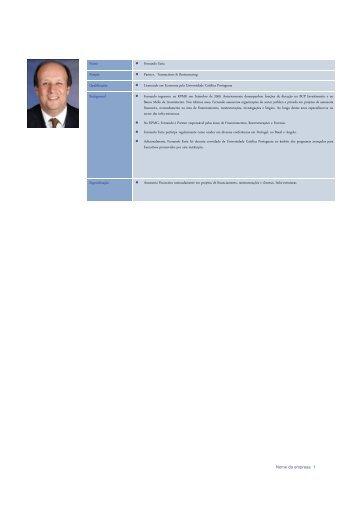 Nome Fernando Faria Posição Partner, Transactions ... - AESE