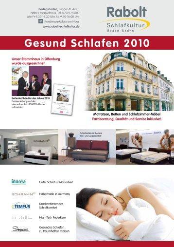 Gesund Schlafen 2010 - Rabolt Schlafkultur