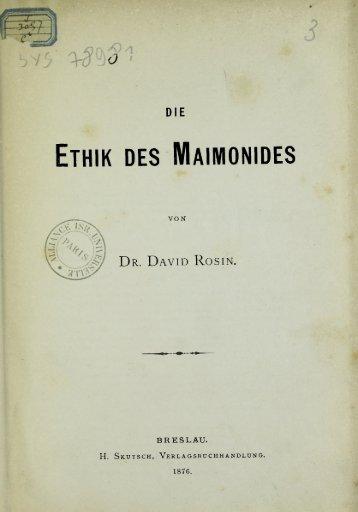 ETHIK DES MAIMONIDES - Rachel