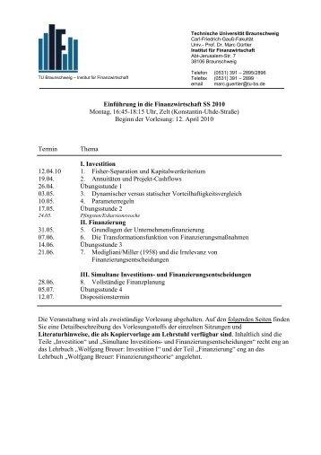 Themenübersicht - Institut für Finanzwirtschaft - Technische ...