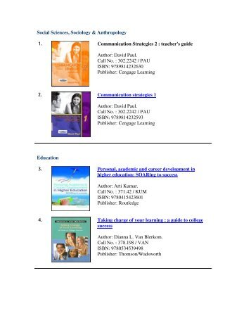 Social Sciences, Sociology & Anthropology 1. Communication ...