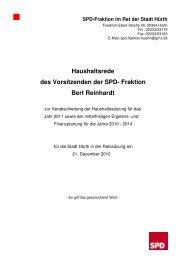 Haushaltsrede 2011 - SPD Ortsverein Hürth