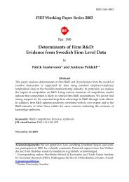 Determinants of firms' R&D: Evidence from Swedish firm ... - S-WoPEc