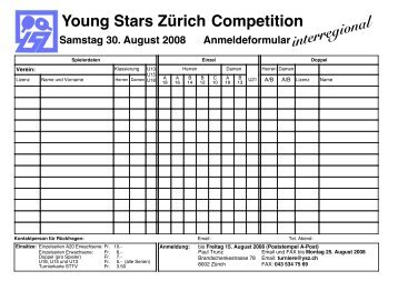 interregional Young Stars Zürich Competition - TTC Chur