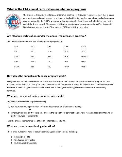 What is the ETA annual certification maintenance     - ETA