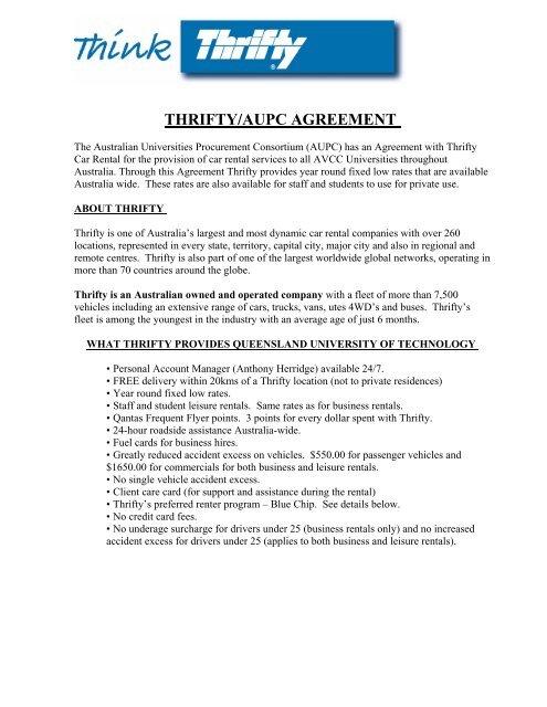 Thrifty Car Booking Procedures Qut