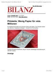 Philatelie: Wenig Papier für viele Millionen | bilanz.ch - Peter Rapp AG