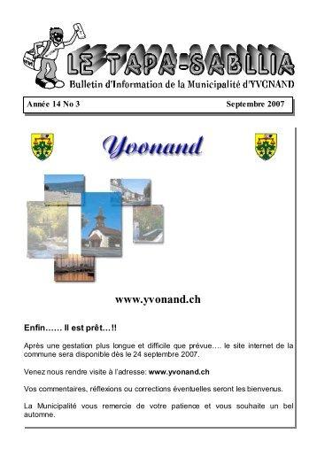 Année 14 no 3 Septembre 2007 - Yvonand