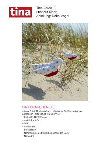 Tina 25/2013 Lust auf Meer! Anleitung: Deko-Vögel ... - Wunderweib