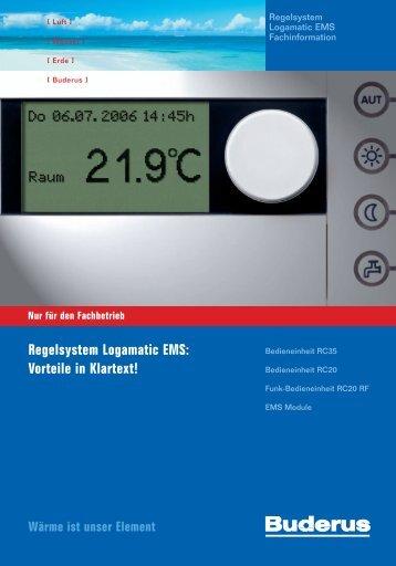Regelsystem Logamatic EMS: Vorteile in Klartext! - Buderus