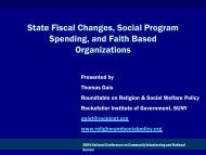 State Fiscal Changes, Social Program Spending, and Faith Based ...