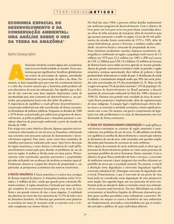 economia espacial do desenvolvimento e da conservação ambiental