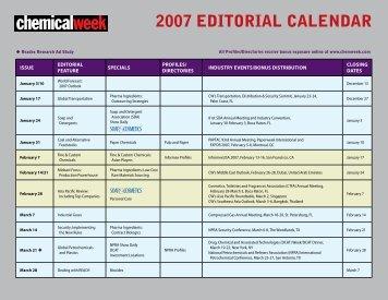 2007 editorial calendar
