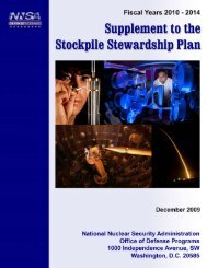 Supplement to the Stockpile Stewardship Plan Overview - National ...