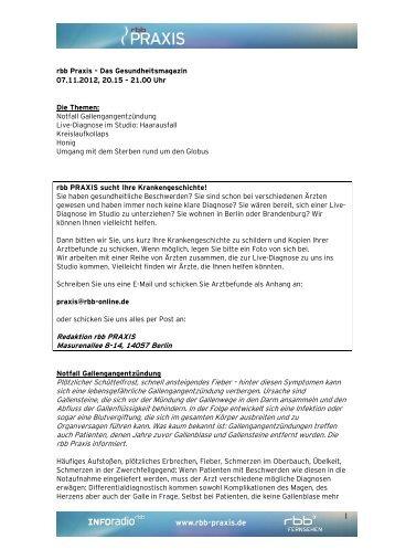 Infoblatt vom 07.11.2012 - beim rbb