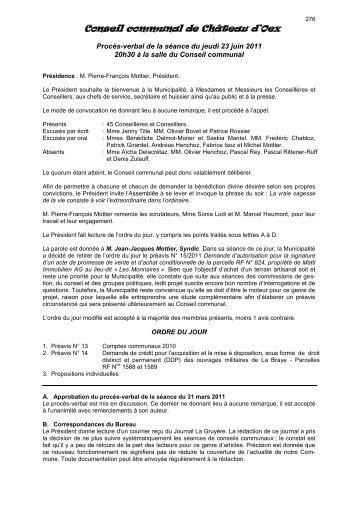 Procès-verbal de la séance du 23 juin 2011 - Château-d'Oex