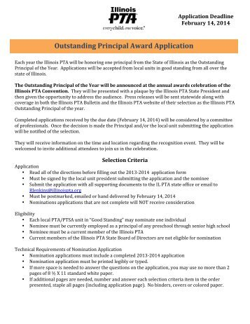 Outstanding Principal Award Application - Illinois PTA