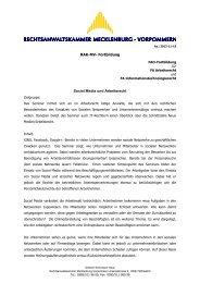RAK-MV Seminare für Junganwälte und Praktiker