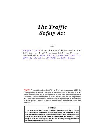 Traffic Safety Act - Government of Saskatchewan