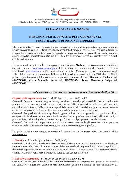 Ufficio Brevetti E Marchi Camera Di Commercio Di Taranto