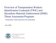Overview Of Transportation Workers Identification Credential