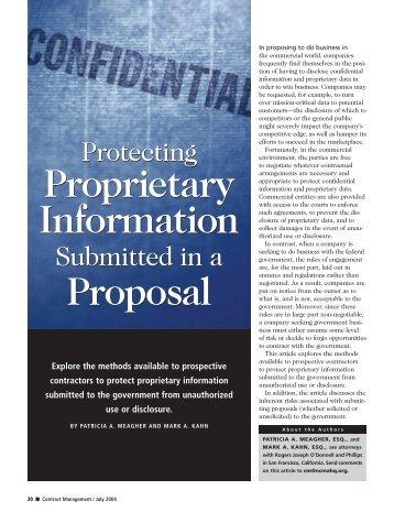 Proprietary Information Proposal Proprietary Information Proposal