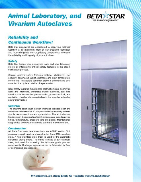 Vivarium Sell Sheet pdf - RV Industries