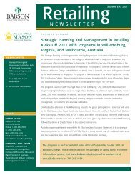 Retailing Newsletter Summer 2011 - Babson College