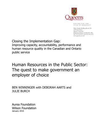 Human Resources in the Public Sector - Queen's University