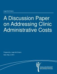 A Discussion Paper on Addressing Clinic ... - Legal Aid Ontario