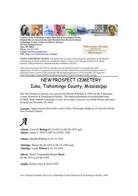 NEW PROSPECT CEMETERY Iuka, Tishomingo County, Mississippi