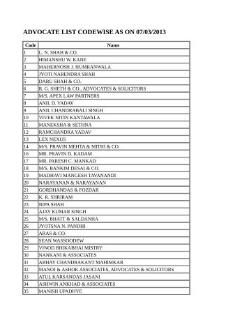 advocate list codewise as on 07/03/2013 - Bombay High Court