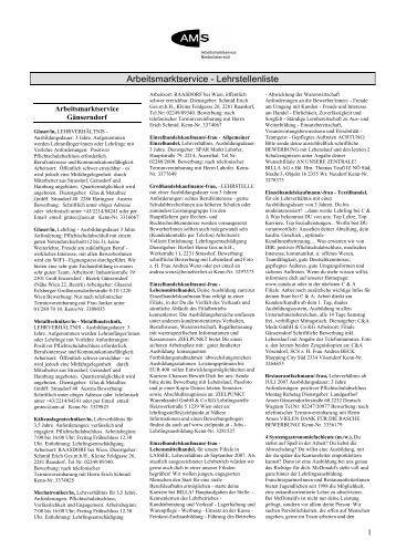 Arbeitsmarktservice - Lehrstellenliste - Raiffeisen Club