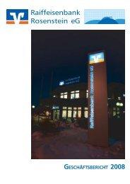 Geschäftsbericht 2008 - Raiffeisenbank Rosenstein eG