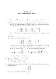 PHYS 455 Short Answers to Homework I