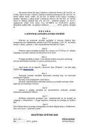 7. Predlog Odluke o pokretanju postupka prodaje zemljišta ... - Bar