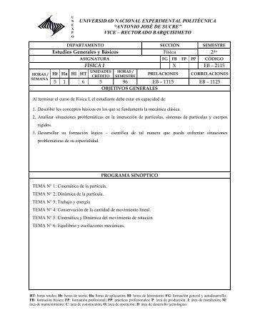 FISICA I - Departamento de Estudios Generales y Básicos ...