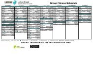 WEEK AT A GLANCE Johns Creek - Life Time Fitness Scheduling