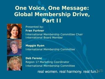 Global Membership Drive - Sweet Adelines International