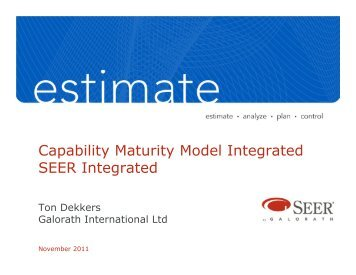SEI's CMMI and how SEER supports the processes - Galorath