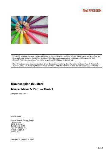businessplan muster marcel meier partner gmbh raiffeisen - Rentabilittsvorschau Muster